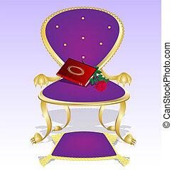 pourpre, fauteuil, livre, rose rouge