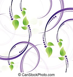 pourpre, feuilles, vert, illustration