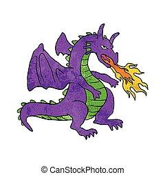 pourpre, flammes, lancement, dragon