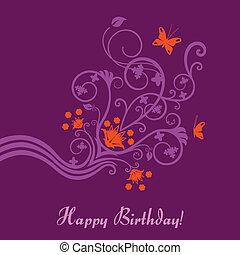 pourpre, floral, carte anniversaire