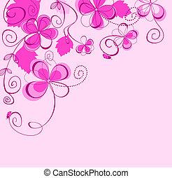 pourpre, floral, fond