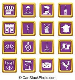 pourpre, france, voyage, ensemble, icônes