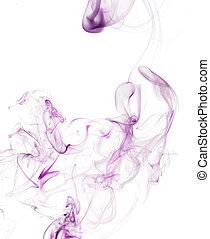 pourpre, fumée, magique, fond blanc