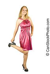 pourpre, girl, dress.