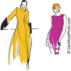 pourpre, girl., mode, deux, jaune