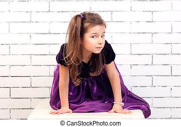 pourpre, girl, robe