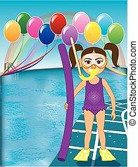 pourpre, girl, snorkel, piscine