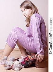 pourpre, girl, valise, pyjamas, séance