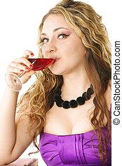 pourpre, girl, vin, boissons
