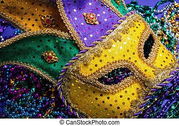 pourpre, gras, perles, mardi, coloré, masque, fond