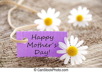 pourpre, heureux, étiquette, jour, mères