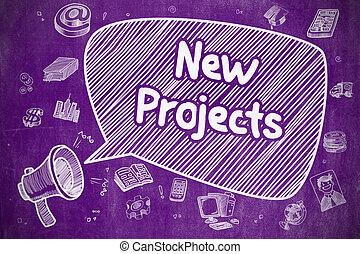 pourpre, -, illustration, main, nouveau, chalkboard., dessiné, projets