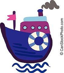 pourpre, illustration, vapeur, couleur, vecteur, dessin, ou, bateau