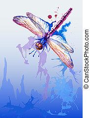 pourpre, libellule, vecteur, aquarelle, fond