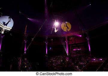 pourpre, lumière, trapèze, cirque, deux, gymnastes,...