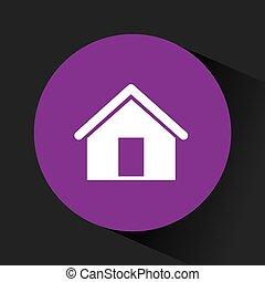 pourpre, maison, intérieur, cercle, icône