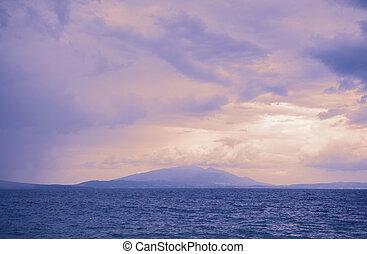 pourpre, montagne, coucher soleil, mer