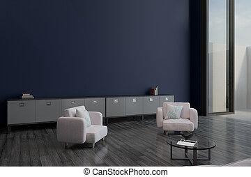 pourpre, mur, salle, vide, luxe