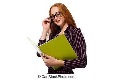 pourpre, notes, femme, jeune, déguisement
