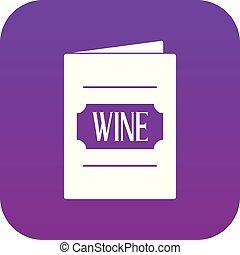 pourpre, numérique, liste, vin, icône