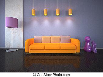 pourpre, orange, conception intérieur