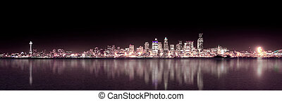 pourpre, panoramique, seattle, nuit