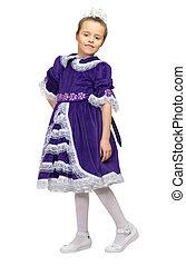 pourpre, peu, robe, girl