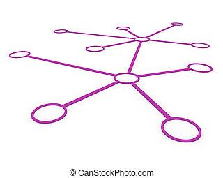 pourpre, réseau, 3d