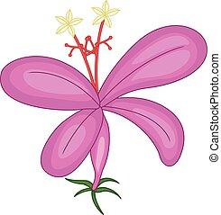 pourpre, rigolote, dessin animé, orchidée