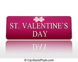 pourpre, rue., valentines, bannière, jour, ruban