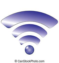 pourpre, sans fil, (wi-fi), icône