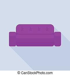 pourpre, sofa, icône, style, plat