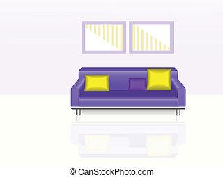 pourpre, sofa