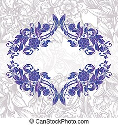 pourpre, vendange, décoratif, floral, cadre