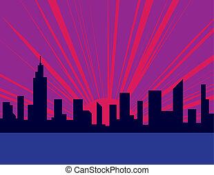 pourpre, ville, coucher soleil