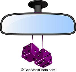 pourpre, voiture, dés, miroir