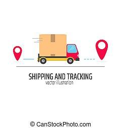 poursuite, camion, paquet, expédition, rouges