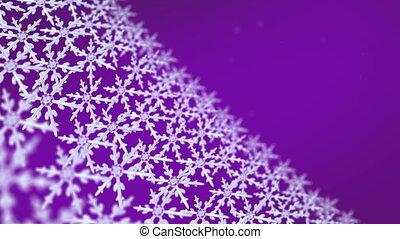 poursuite, flocons neige, arrière-plan violet, étalage, hd