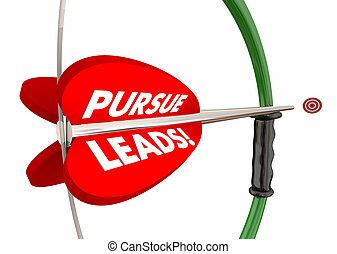 poursuivre, pattes, arc, flèche, cible, vendre, plus, clients, 3d, illustration