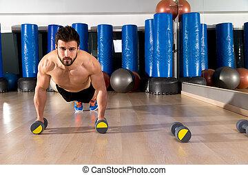 pousées, homme, dumbbells, fitness, gymnase