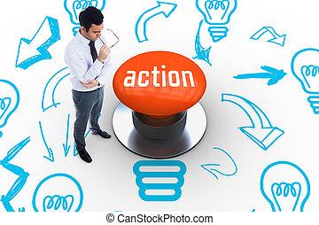 poussée, action, orange, bouton, contre