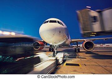 poussée, avion, dos