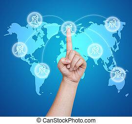 poussée bouton, main, toucher, badminton, interface, sport, écran