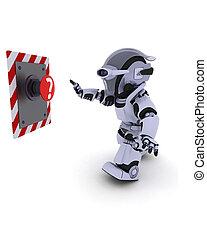 poussée bouton, robot