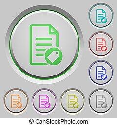 poussée boutonne, document, étiquetage