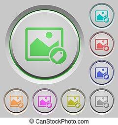 poussée boutonne, image, étiquetage