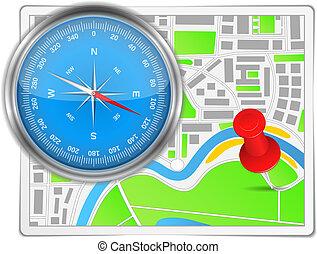 poussée, carte, résumé, épingle, compas
