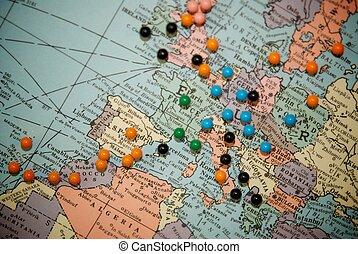 poussée, carte, voyage, epingles