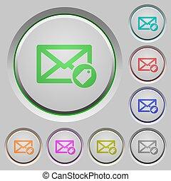 poussée, courrier, étiquetage, boutons