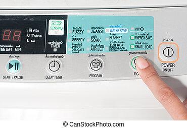 poussée, eco, bouton, machine, lavage